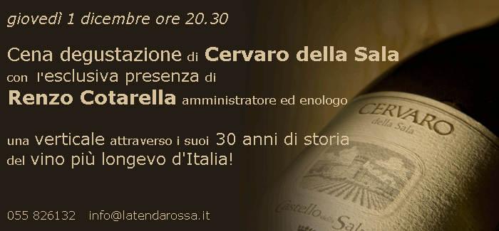 1 dicembre cena degustazione di Cervaro della Sala con Renzo Cotarella